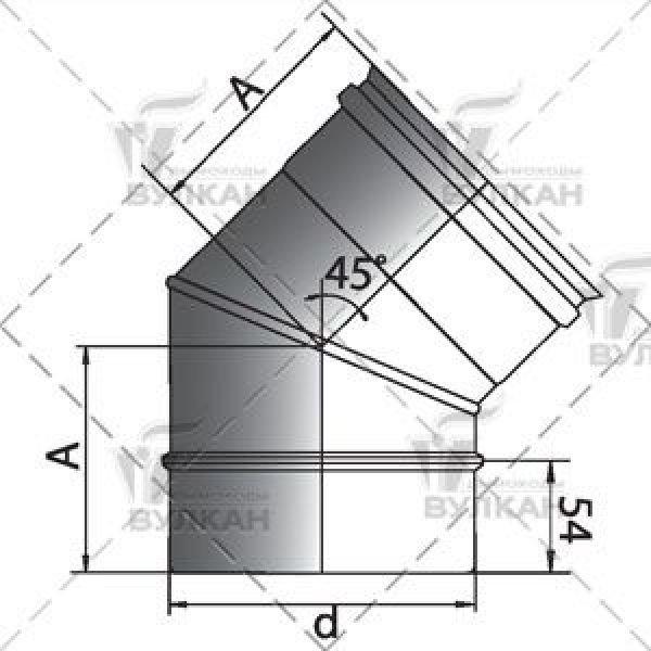 Отвод 45° D200 без изоляции, матовый (Вулкан)