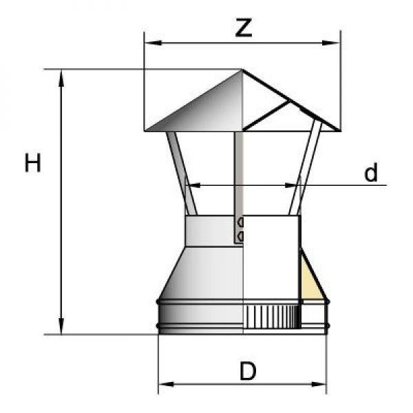 Зонт DAH на трубу D150 с изол.50мм, нерж321/нерж321 (Вулкан)