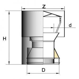Дефлектор DDH D150 с изол.50мм, нерж321/нерж304 (Вулкан)