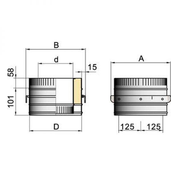 Опора DOH на трубу D104 с изол.50мм, нерж321/нерж304 (Вулкан)