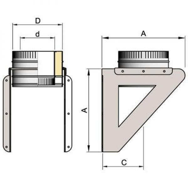 Кронштейн крепления к стене DOSH D120 с изол.50мм, нерж321/нерж304 (Вулкан)