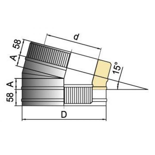 Отвод 15° DOTH D104 с изол.50мм, нерж321/нерж304 (Вулкан)