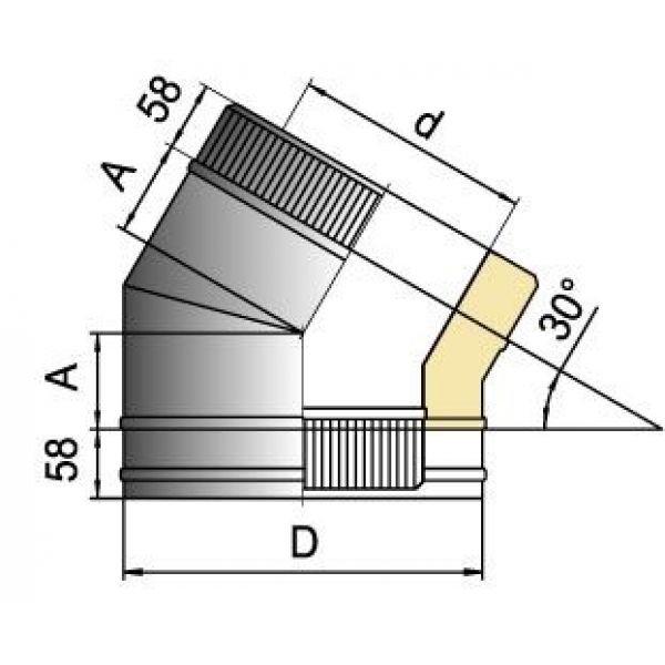 Отвод 30° DOTH D104 с изол.50мм, нерж321/нерж304 (Вулкан)