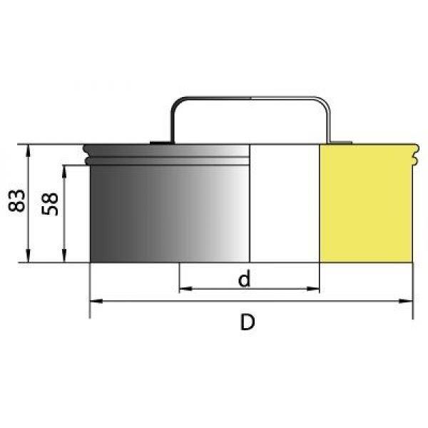 Ревизия (крышка) DRH на трубу D120 с изол.50мм, нерж321/нерж304 (Вулкан)