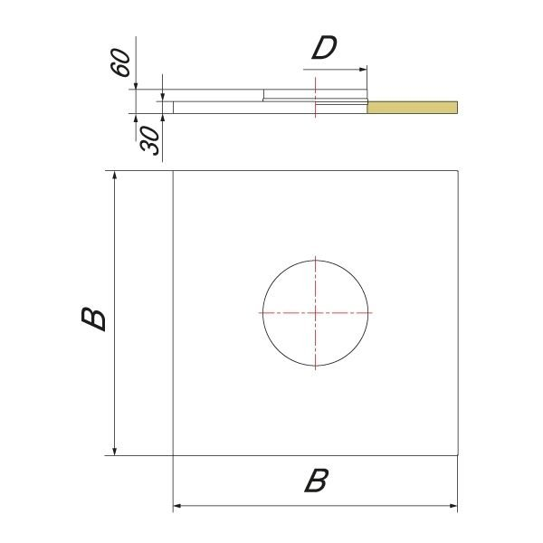 Фланец с изоляцией 750х750 на трубу V50R D150/250, нерж (Вулкан)