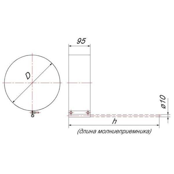 Хомут под молниеотвод на трубу V50R D104/200, нерж 304 (Вулкан)
