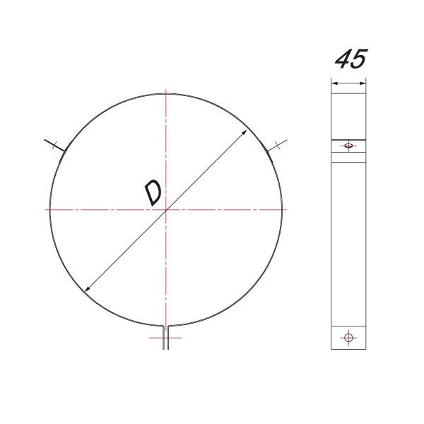 Хомут под растяжки на трубу V50R D104/200, нерж 304 (Вулкан)