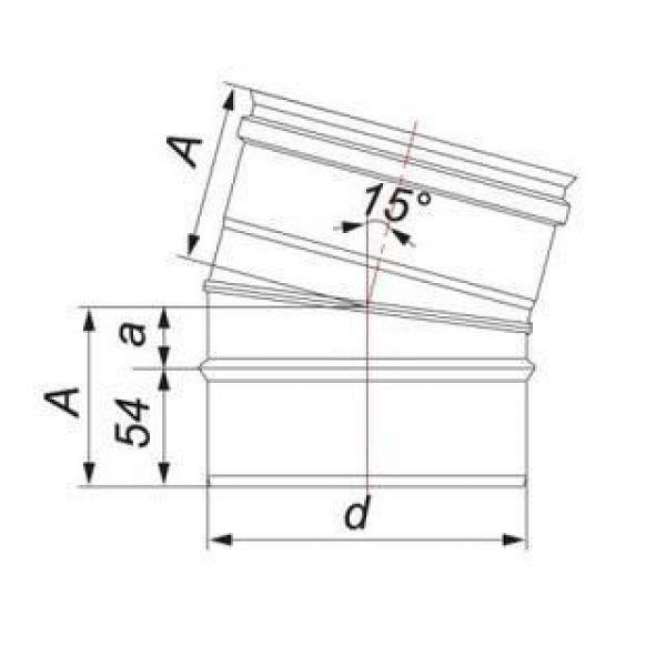 Отвод 15° D115 без изоляции, зеркальный (Вулкан)