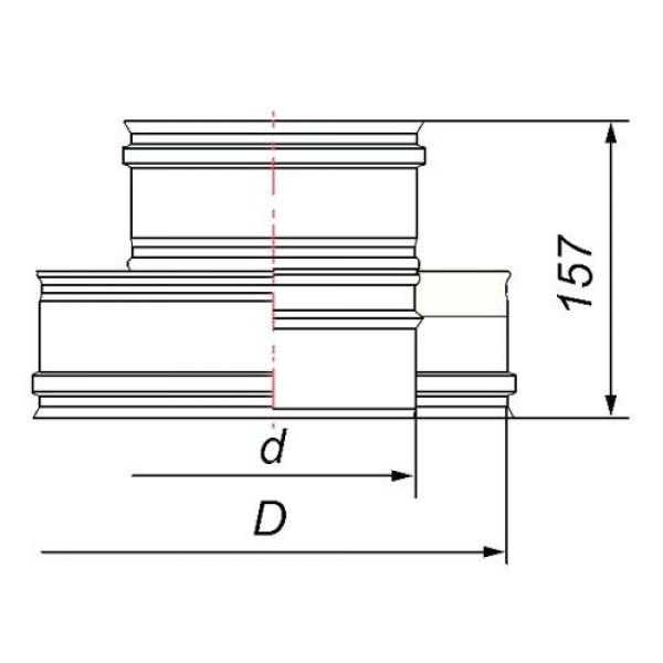 Переходник термо-моно V50R с D104/200 на D104, нерж 321/304 (Вулкан)