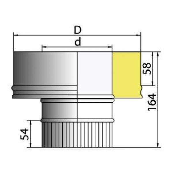 Переходник моно-термо PMT с D104 на D104/200, нерж321/нерж304 (Вулкан)