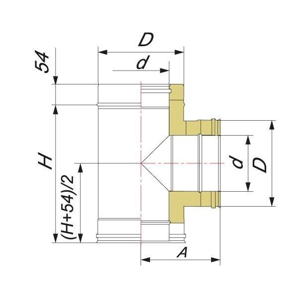 Тройник V50R 90° D104/200, нерж 321/304 (Вулкан)