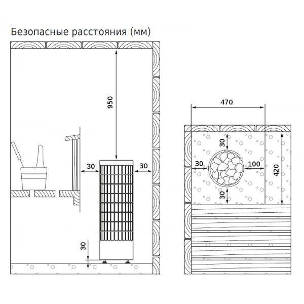 Электрическая печь Harvia Cilindro PC70HEE