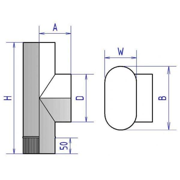 Тройник 90° овальный с патрубком круглого сечения 4ТР90