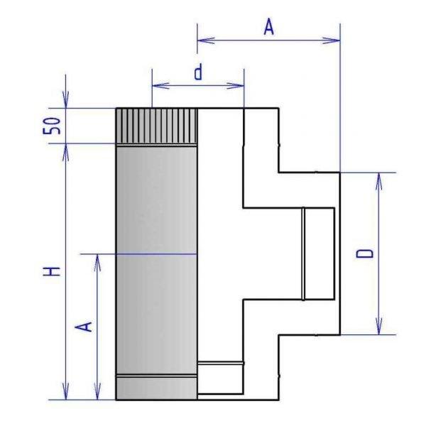 Тройник 90° коаксиальный прочистной 3ТРП90