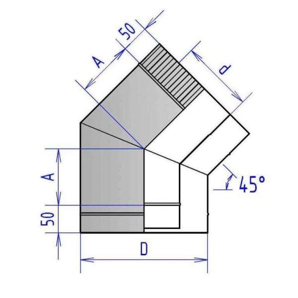 Отвод коаксиальный 45° 3ОТ45