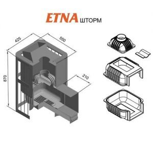 Банная печь ETNA Шторм 18 (Панорама)