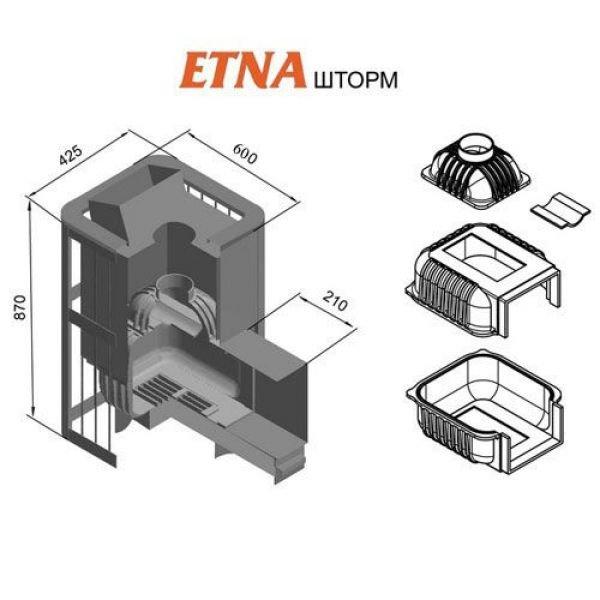 Банная печь ETNA Шторм 24 (Панорама)