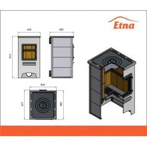 Печь-камин ETNA (ДТ-4С) с плитой и теплообменником