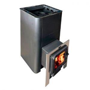 Банная печь КОНВЕКТИКА Олимп 20-26 (чугунная дверца + стекло + парогенератор)