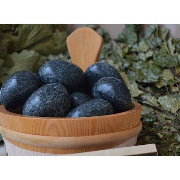 Камни для бани Жадеит Чёрный принц шлифованный (ведро 20 кг)