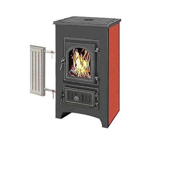 Печь-Камин ВЕЗУВИЙ ПК-01 (270) с плитой и теплообменником, красный