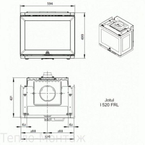JOTUL I 520 FRL BP чугунная каминная топка, 10 кВт