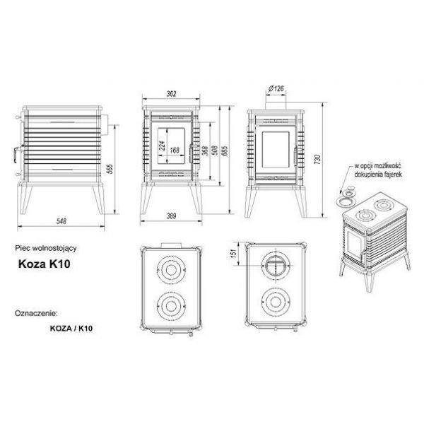 Чугунная печь Kratki Koza/K10
