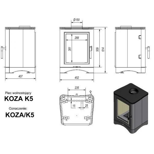 Печь камин KOZA/K5/150