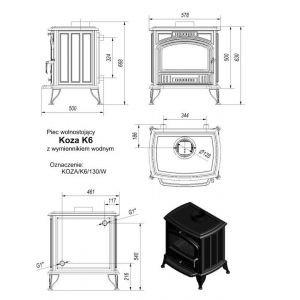 Чугунная печь Kratki Koza/K6/W (c вод.контуром)