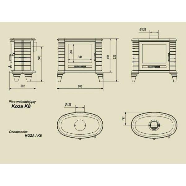 Чугунная печь Kratki Koza K8 (термостат)