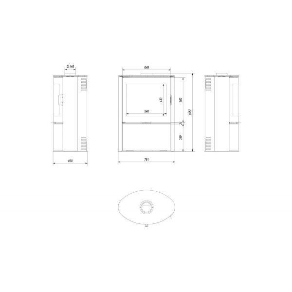 Печь дровяная KOZA/AB/S/2/KAFEL в трех цветах