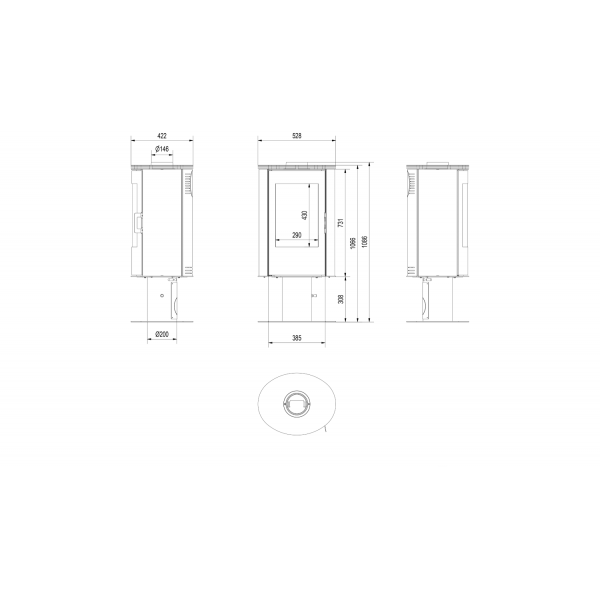 Печь дровяная KOZA/AB/S/N/DR/KAFEL/BIALY (кафель белый)