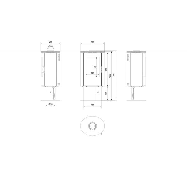 Печь дровяная KOZA/AB/S/N/DR/KAFEL/CZARNY (кафель черный)