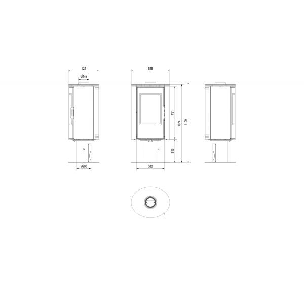 Печь дровяная KOZA/AB/S/N/O/DR/GLASS/ KAFEL/CZARNY