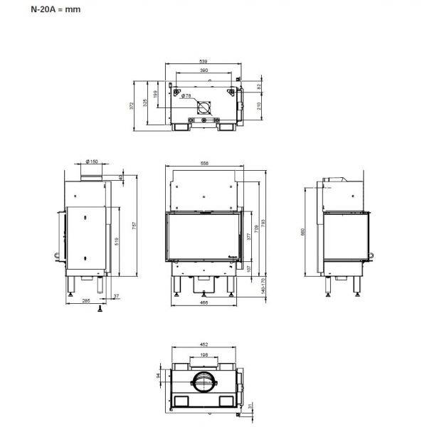 Печь-камин Nordpeis Box левый + топка N-20A
