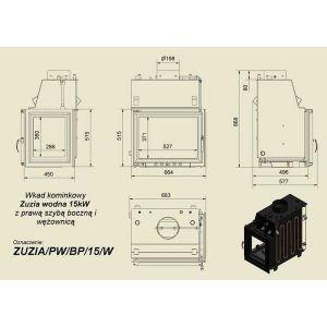Топка с водяным контуром ZUZIA/PW/BP/15/W/Z, стекло справа, змеевик