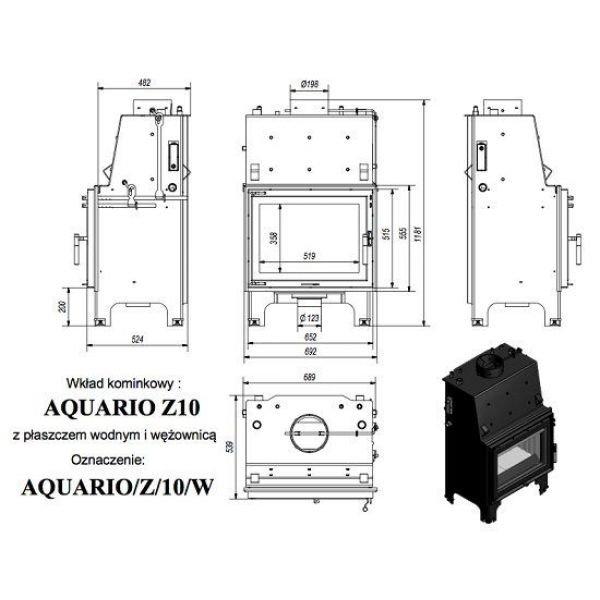 Каминная топка AQUARIO/Z/10/PW/W