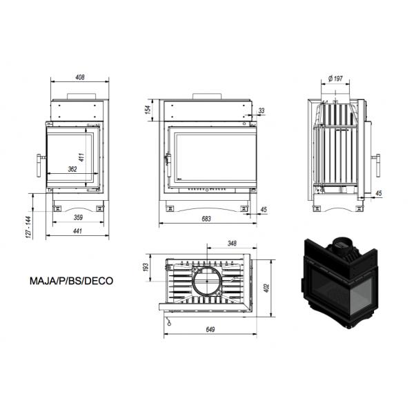 Топка MAJA/P/BS/DECO, Г-образное стекло справа