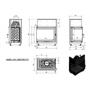 Угловая топка AMELIA/L/BS/DECO, Г-образное стекло слева