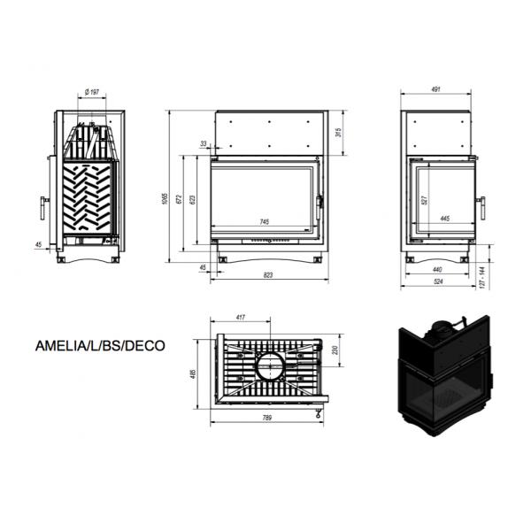 Каминная топка AMELIA/L/BS/DECO, Г-образное стекло слева
