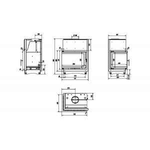 Топка с водяным контуром ZUZIA/PW/BL/15/BS/W/DECO, Г - образное стекло слева, змеевик