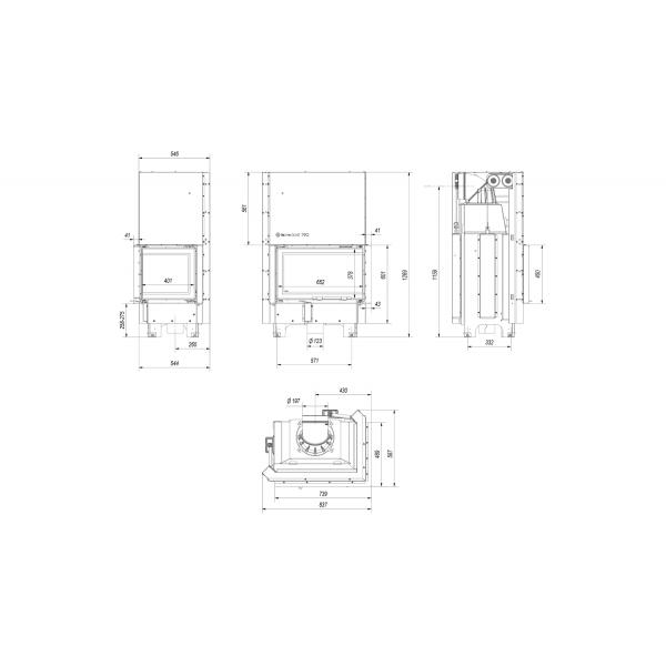 Топка MBM/P/BS/G, Г-образное стекло справа, гильотина