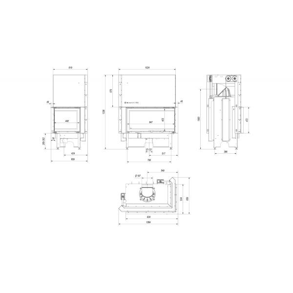 Топка NADIA/14/P/BS/G, Г-образное стекло справа, гильотина