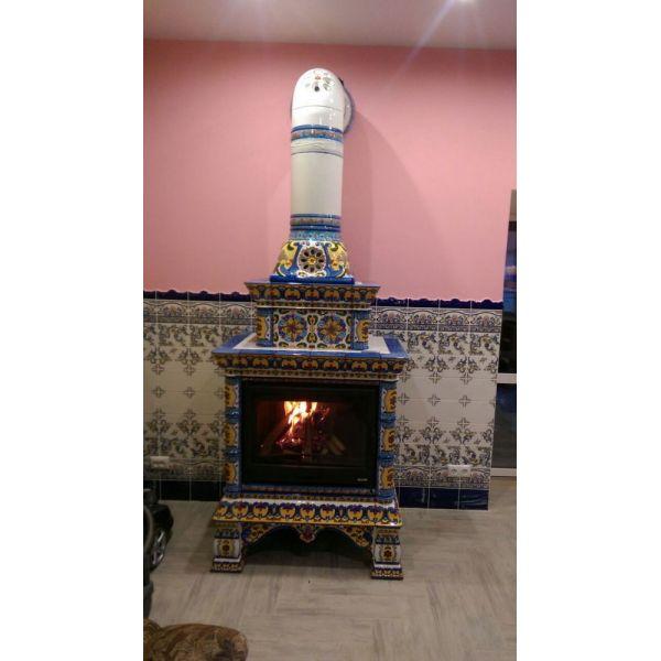 Изразцовая печь КимрПечь Кострома центральный-двухъярусный роспись
