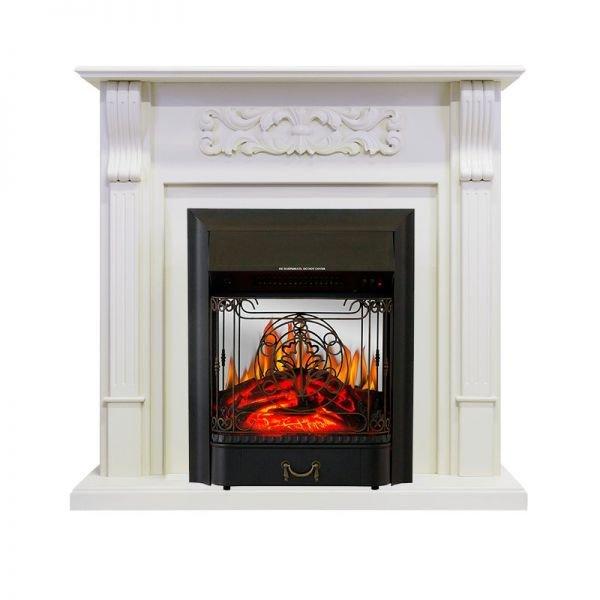 Электрокамин Royal Flame Venice - Фактурный белый с очагом Majestic FX M Black