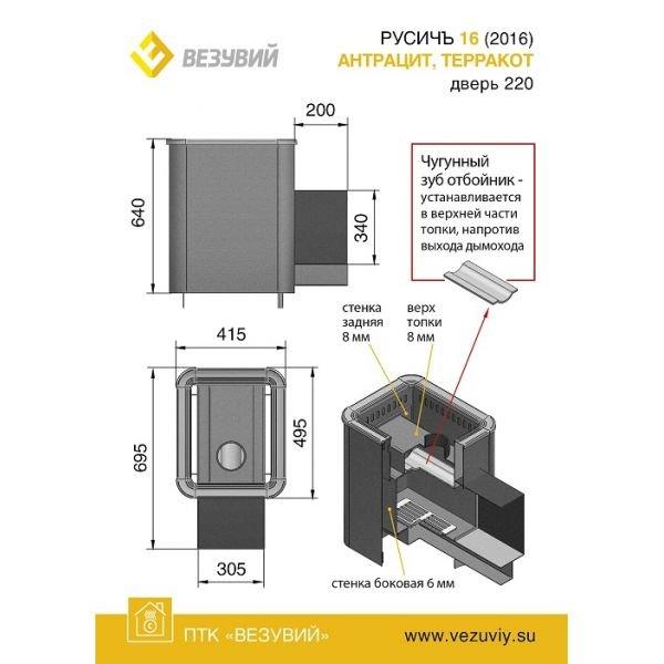 Банная печь ВЕЗУВИЙ Русичъ Антрацит 16 (220)