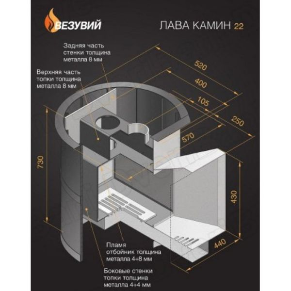Банная печь Банная печь ВЕЗУВИЙ Лава 22 (ДТ-4С)